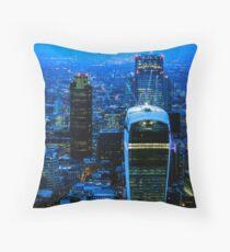 Blue Metropolis Throw Pillow