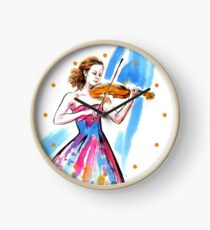 Girl playing the violin Clock