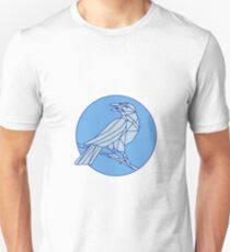 Crow Perching Looking Side Circle Mono Line Unisex T-Shirt