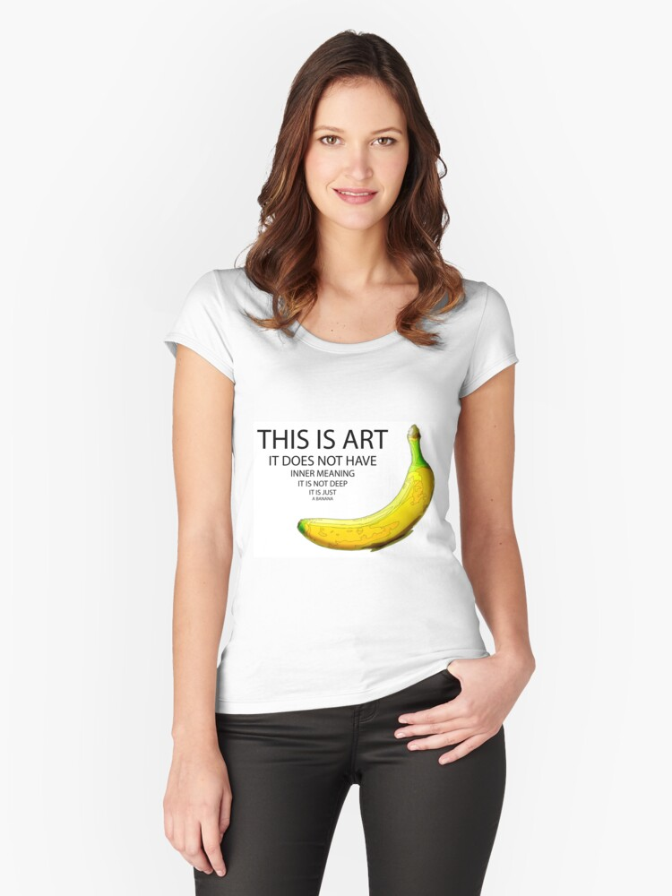 The Really Quite Dull Banana Women's Fitted Scoop T-Shirt Front