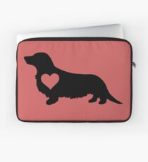 Long Haired Daschund Love Laptop Sleeve