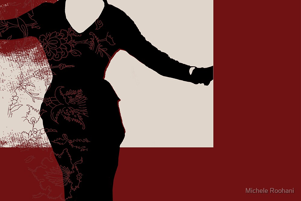 pretty woman in red by Michele Roohani