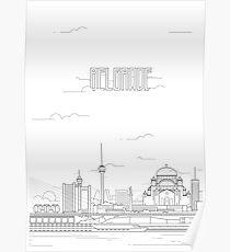 Belgrade city iconic buildings Poster