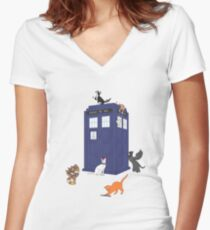 Doctor Who: Cats Women's Fitted V-Neck T-Shirt
