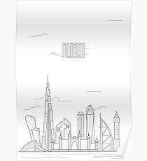 Dubai city iconic buildings Poster