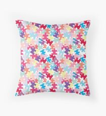 Puzzels for Autism - Pastel/Bright Color way Throw Pillow