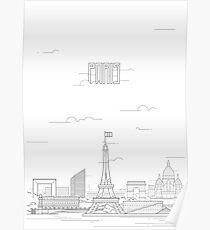 Paris city iconic buildings Poster