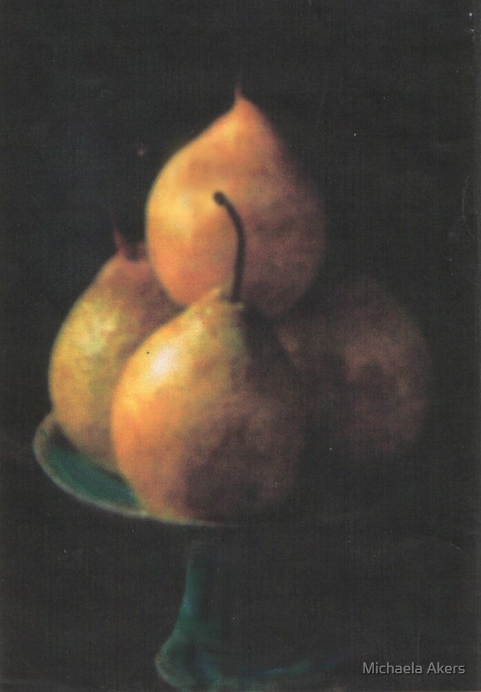 Pears on Porcelain by Michaela Akers