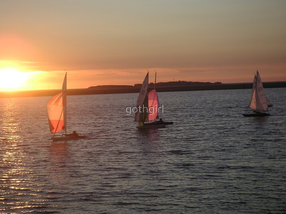 sailing boat at sun set by gothgirl