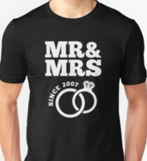 10th Wedding Anniversary Gift T-Shirt Mr & Mrs Since 2007 Unisex T-Shirt