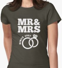 10th Wedding Anniversary Gift T-Shirt Mr & Mrs Since 2007 Womens Fitted T-Shirt