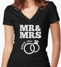 70th Wedding Anniversary Gift T-Shirt Mr & Mrs Since 1947 Women's Fitted V-Neck T-Shirt
