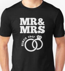 70th Wedding Anniversary Gift T-Shirt Mr & Mrs Since 1947 Unisex T-Shirt