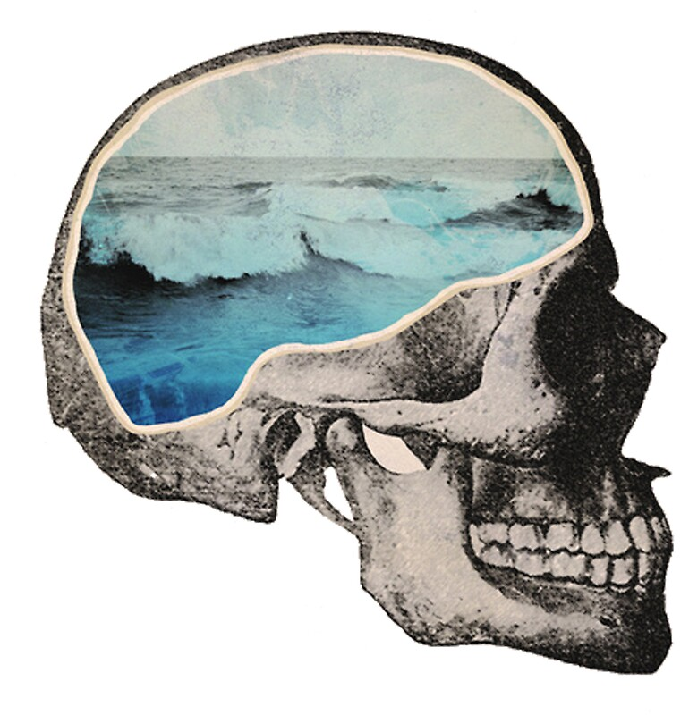Quot Skull Surf Blue Wave Inside Thinking Brain Draw Quot Stickers