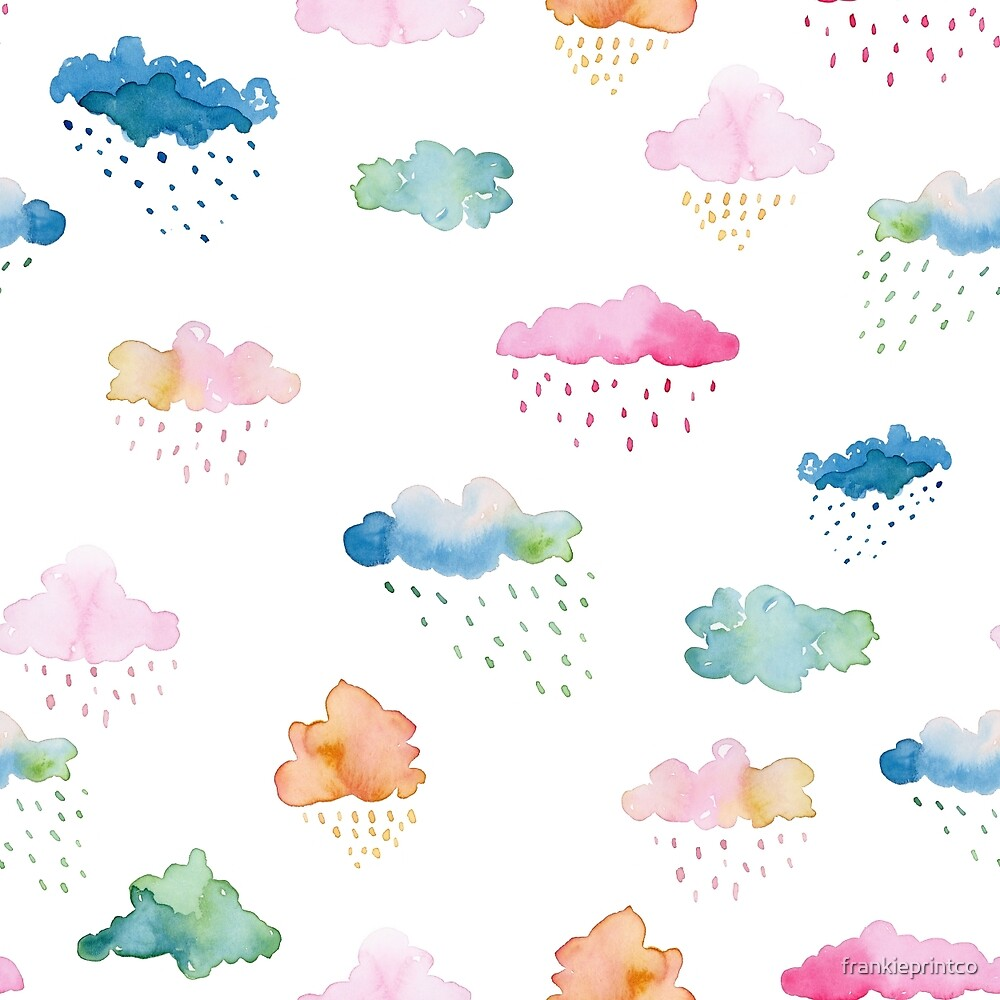 Watercolour Clouds (multicolour) by frankieprintco
