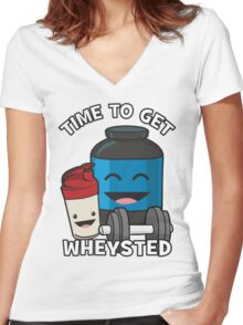 Time To Get Wheysted Women's Fitted V-Neck T-Shirt
