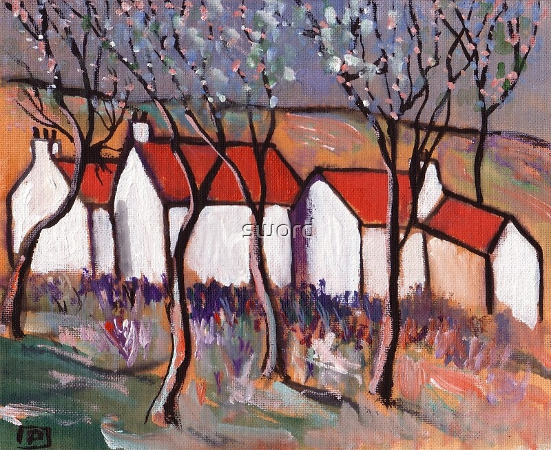 Red roofs and blossom trees (from my original acrylic painting) by sword