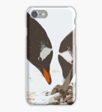 A gentoo penguin couple preparing their nest iPhone Case/Skin