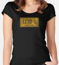 Ghostbusters - Ecto-1 License Plate -  Dirty Women's Fitted Scoop T-Shirt
