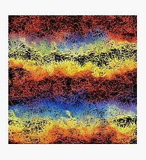 psychedelic geometric drawing abstract in red yellow blue and black Photographic Print