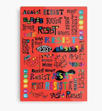Resist Them scarlet red Metal Print