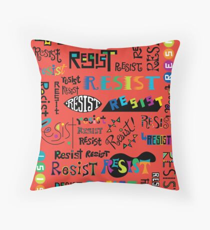 Resist Them scarlet red Throw Pillow