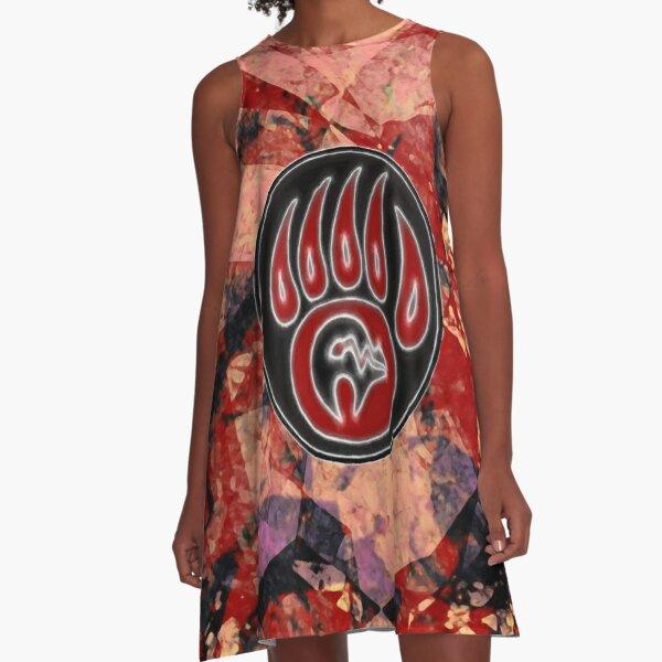 Red Spirit Bear A-Line Dress