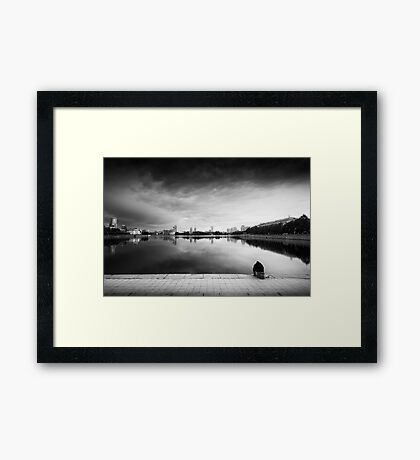 The Thinker and the Lake Framed Print