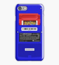 Blue GameBoy Color Back - Red Cartridge iPhone Case/Skin