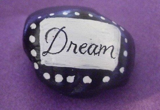 Hand painted black and white rock Dream by Melissa Renee