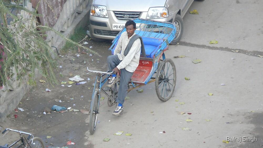 Punjabi Rickshaw Driver - India by Balraj Singh
