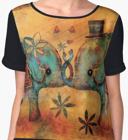 Vintage Elephants Women's Chiffon Top