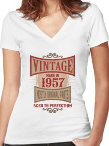 Vintage Made In 1957 Retro Birthday Gift Women's Fitted V-Neck T-Shirt
