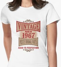Vintage Made In 1967 Retro Birthday Gift T-Shirt Womens Fitted T-Shirt