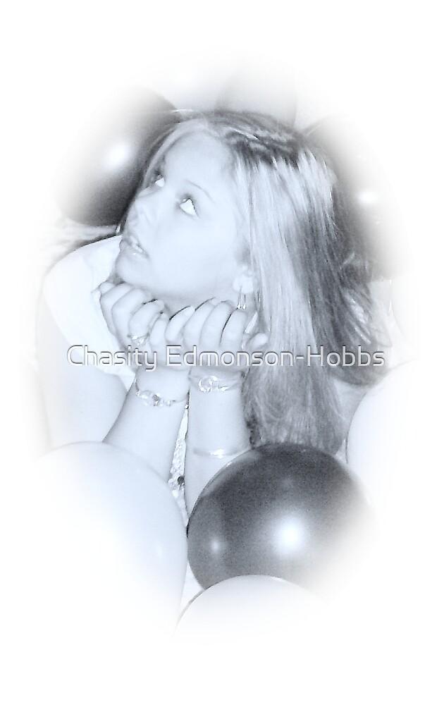 Jana & balloons black & white by Chasity Edmonson-Hobbs