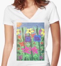 Colorful Garden Bohemian Floral Art Women's Fitted V-Neck T-Shirt