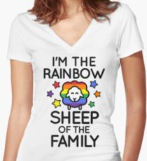 I'm the Rainbow Sheep of the Family Women's Fitted V-Neck T-Shirt