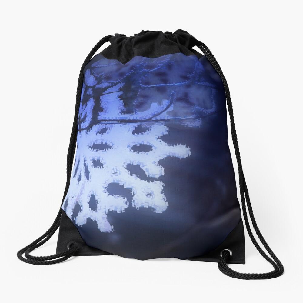 snowflakes in blue 3 Drawstring Bag