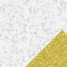 White Marble with Gold Glitter by Lisa Bradbury