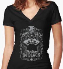 Best Seller: Johny Cash The Man In Black Women's Fitted V-Neck T-Shirt