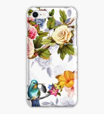 Humming bird, roses, peony with leaves on white iPhone Case/Skin