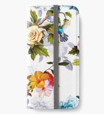 Humming bird, roses, peony with leaves on white iPhone Wallet/Case/Skin