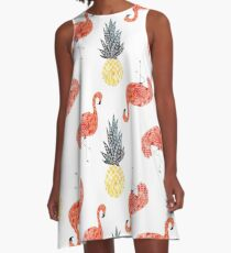 Flamingo Pineapple Party A-Line Dress