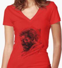 Sumi-e Logan Women's Fitted V-Neck T-Shirt