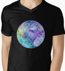 Watercolor and Ink Moroccan  Pattern Mens V-Neck T-Shirt