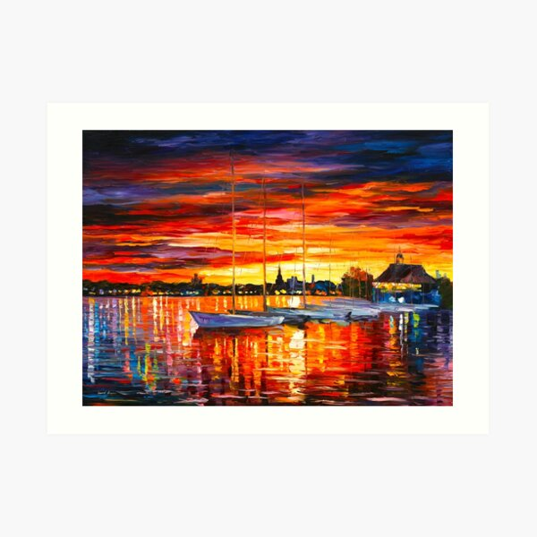 HELSINKI - SAILBOATS AT YACHT CLUB - Leonid Afremov CITYSCAPE Art Print