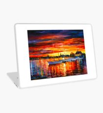 HELSINKI - SAILBOATS AT YACHT CLUB - Leonid Afremov CITYSCAPE Laptop Skin
