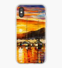 ITALY, NAPLES HARBOR - VESUVIUS - Leonid Afremov CITYSCAPE iPhone Case