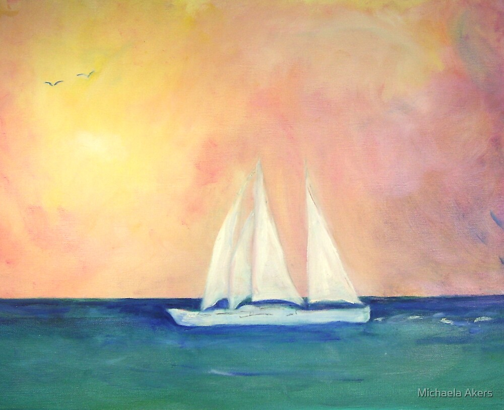 The Sailboat - Regatta of One by Michaela Akers