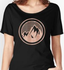 THE MOUNTAIN - Rose Gold on Black Vintage Retro Adventure Wanderlust Art tshirt tapestry pillow rosegold  Women's Relaxed Fit T-Shirt